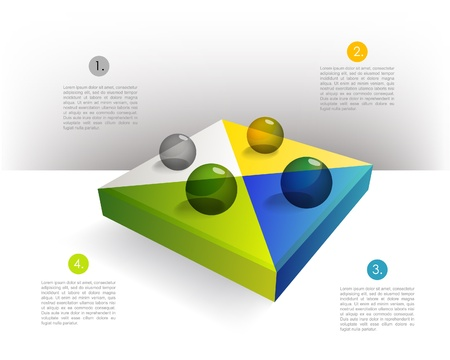 elipse:  Presentation template rectangle graph with a 3D glass balls  Pie chart diagram  Infographics