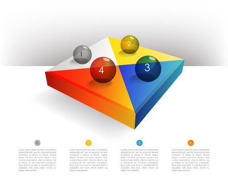 Presentation template rectangle graph with a 3D glass balls  Pie chart diagram  Infographics  Vector