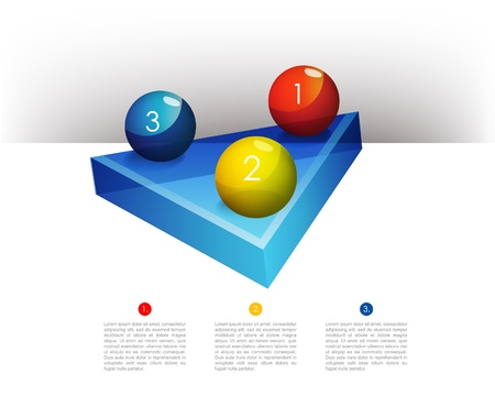 module:  Presentation template graph with a triangle 3D glass diagram and glass balls  Infographics web elements  Illustration
