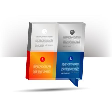 resentation template 3D cube graph. Speech bubble diagram. Infographics web elements. Illustration