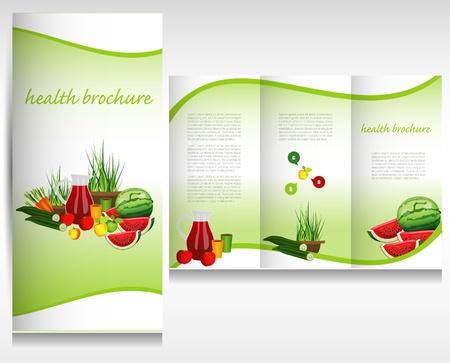 carot: Health food brochure design. Bio vegetable and fruit. Brochure folder vector.