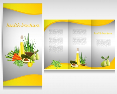 Health food brochure design. Bio vegetable and fruit. Brochure folder vector. Vector