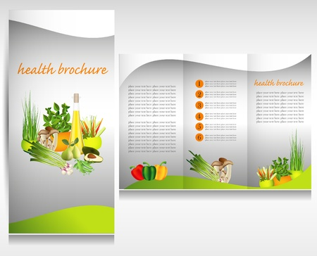 Health food brochure design. Bio vegetable and fruit. Brochure folder. Vector