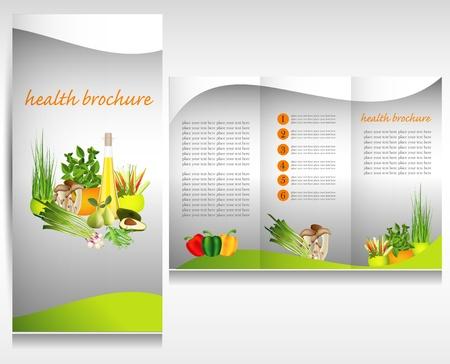 magazine template: Health food brochure design. Bio vegetable and fruit. Brochure folder.