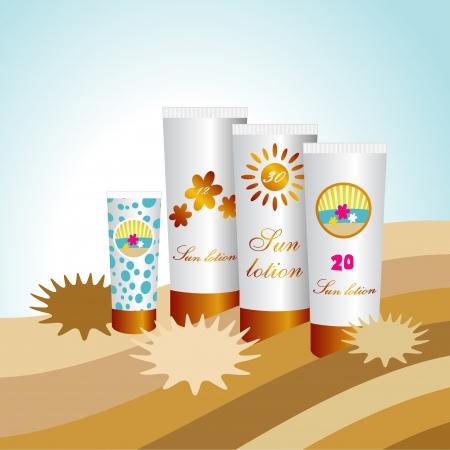 sun protection: Protectores Solares Loci�n. Dom cremas de protecci�n. Vectores
