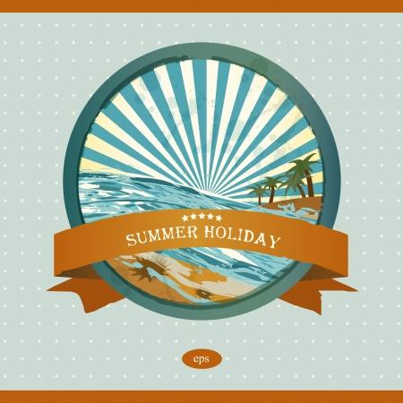 Summer retro background. Vintage seaside view illustration.