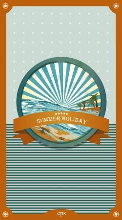 Summer retro background. Vintage seaside view illustration. Stock Vector - 20193930