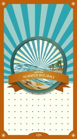 Summer retro background. Vintage seaside view illustration. Stock Vector - 20193928