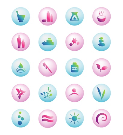 Wellness, spa, beauty and  nature icons sets isolated on white Stock Vector - 20323752