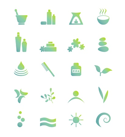 spa therapy: Wellness, spa, beauty and  nature vector icons sets isolated on white