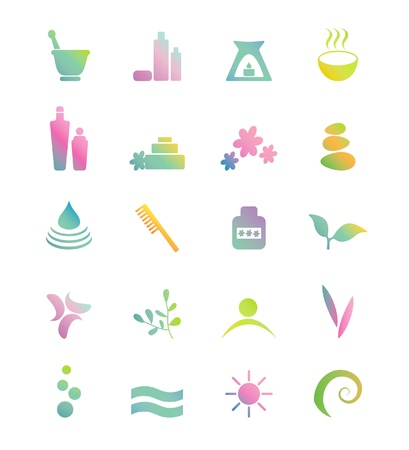 Wellness, spa, beauty and  nature icons sets isolated on white Stock Vector - 20323717