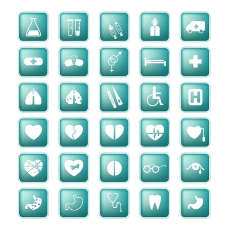 heart bypass: Medical set icon buttons  Illustration