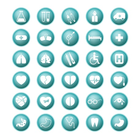 Medical set icon buttons  Stock Vector - 20331402