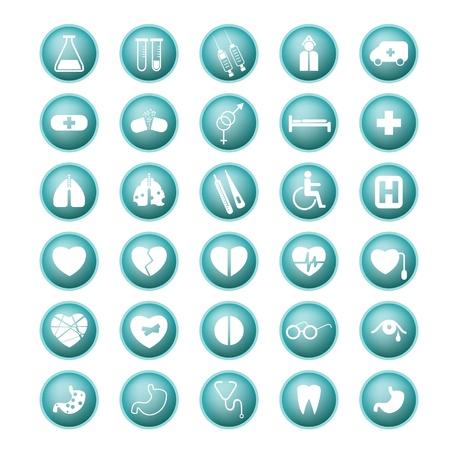 medical emergency: Medical set icon buttons  Illustration