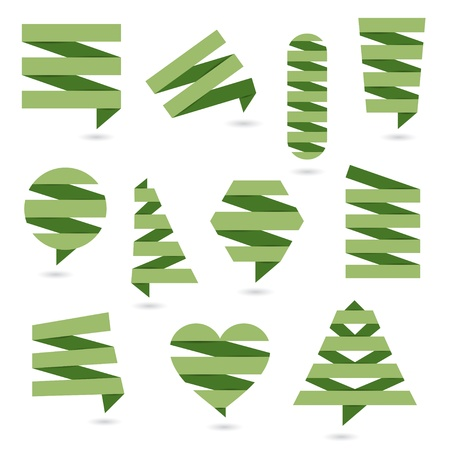 Abstract logos and elements for design  Green paper eco design Stock Vector - 20322759