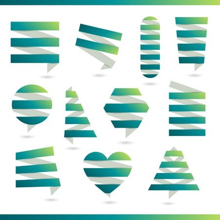 Abstract logos and elements for design  Green paper eco design Stock Vector - 20331716