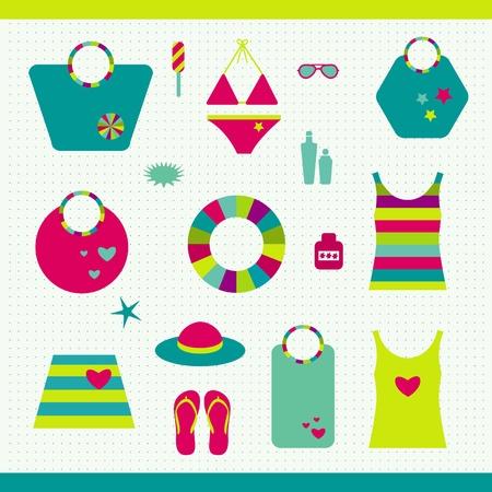 sun lotion: Playa de verano conjunto Colecci?n de bolsos, camisetas, bloqueador solar Vectores