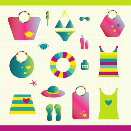 Summer beach set  Collection of bags, T shirts, sun lotion  Stock Vector - 20322825