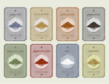 food storage:  Retro vintage food and spices storage labels old fashioned etiquette colection
