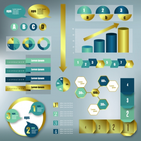 histograms: Set elements of infographics  Modern Design gold template