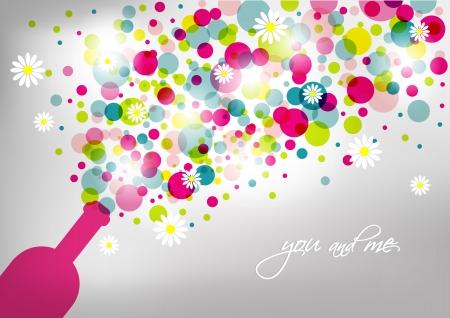 bouteille champagne: Mariage et carte d'invitation Bouteille de champagne avec des bulles R�sum� fond Illustration
