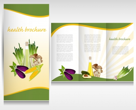 brochure layout: Health food brochure design  Bio vegetable and fruit  Brochure folder vector