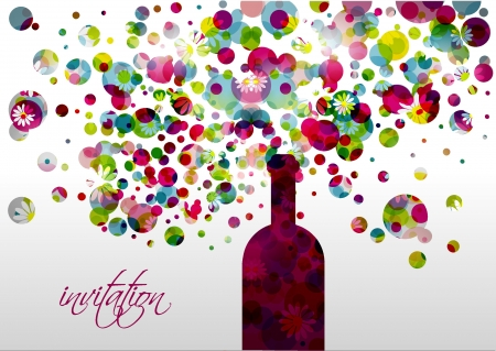 Wedding and invitation card  Champagne bottle with bubbles  Abstract flower background   Vector