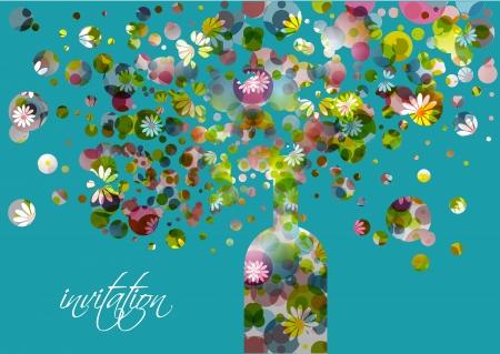 거품 추상 꽃 배경으로 웨딩 드레스 및 초대 카드 샴페인 병