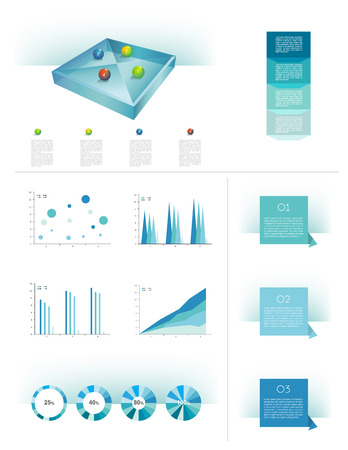 Infographics elements  3D glass cube objects  Vector