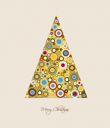 Christmas card  Stylized Christmas tree  Circle patern  Vector backgroun Illustration Stock Vector - 23241855