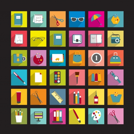 Collection of various icons   Illustration
