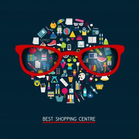 reading glass: Vector illustration of shopping icons  Collection of different colorful pictogram   Illustration
