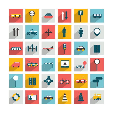 web design bridge: Collection of transport sign  Traffic symbols  Vector isolated   Illustration