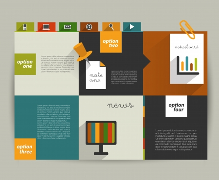 web page: Modern website template  Colorful minimalistic option flat banner  Vector illustration  Box diagram