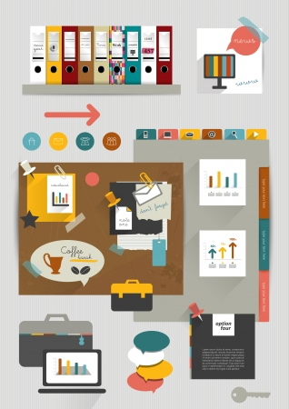 Work office web layout  Colorful graphic template  Folder, sticker, graph, tab, data, bubbles set  Vector background   Illustration