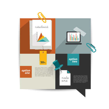 Modern website template  Colorful minimalistic option flat banner  Vector illustration  Box diagram