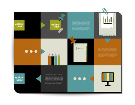 Modern website template  Colorful minimalistic option flat banner  Vector illustration  Box diagram