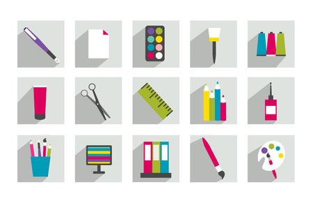pallette: Ensemble de travail ou l'icône plat de l'école Illustration