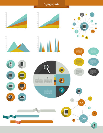network devices: Collection of smart phone communication elements  Set of buttons, charts, ribbons, networks  Infographic for print or web  Can be used for annual report