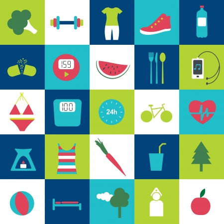 step fitness: Modern fitness and health life stale icon  Loss weight motive   Illustration
