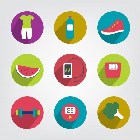 step fitness: Modern fitness and health life style flat icon  Loss weight motive   Illustration