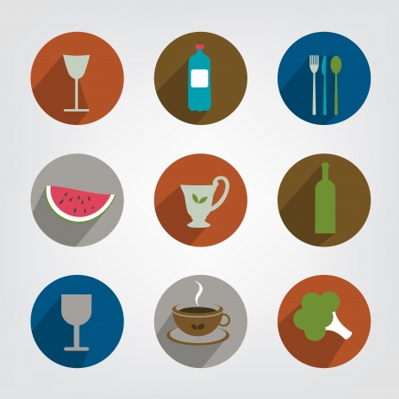 Collection of food and drink icon  Set of modern shadows pictogram   Vector