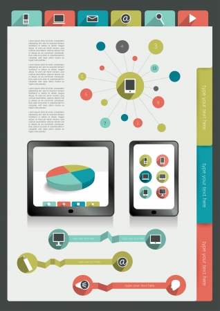 temlate: Infographics folder collection  Web page or print template  Modern technology sheet  Vector background illustration  Smart phone and reader   Illustration