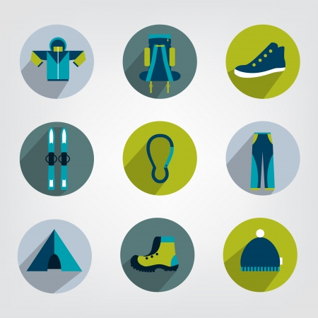 skying: Set of modern sporting and tracking shadows icon