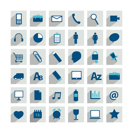 Set of colorful moder long flat shadows icon  Can be used for print or web   Vector