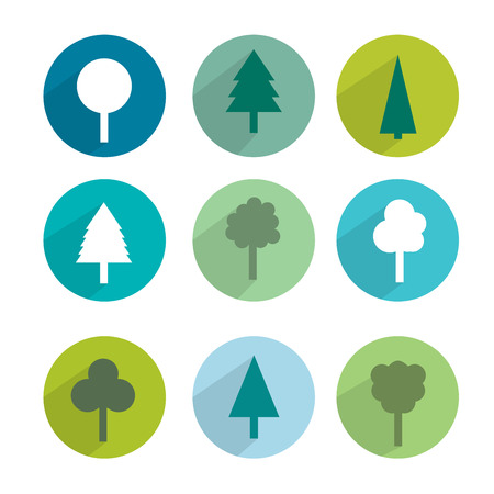 Set of green trees modern circle sign shadows icons   Vector