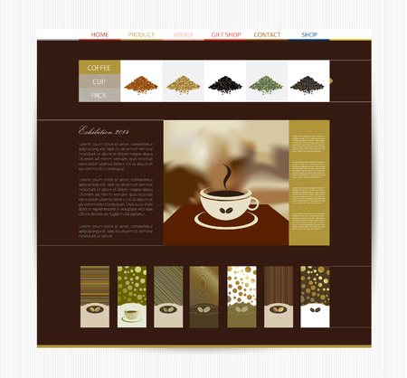 magazine page: Coffee website design template  Blog layout