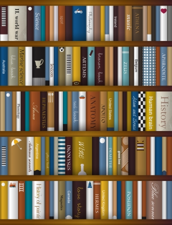現実的な本の棚のインテリア デザイン  イラスト・ベクター素材