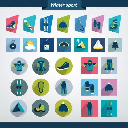 Winter sport and hiking flat icon collection   Vector