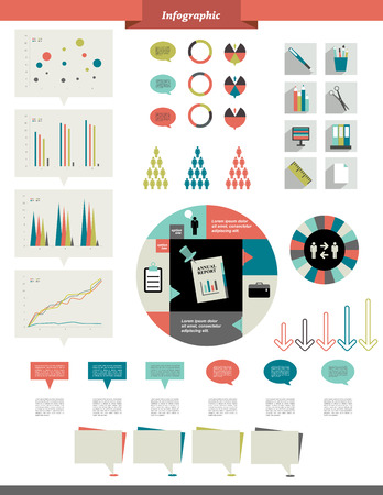 arow: Infographics elements  Folder with diagrams, speech bubbles and graphs   Illustration